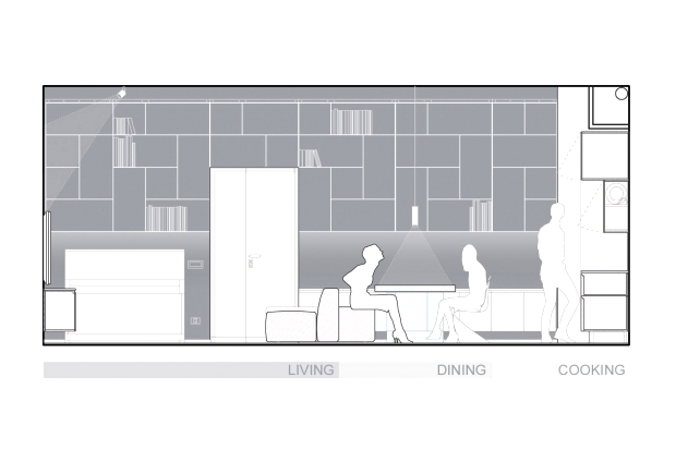 Interior elevation of several bookshelf modules attached